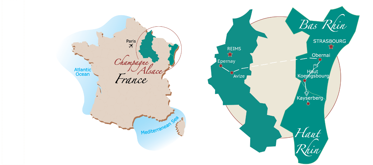 Champagne cycling map
