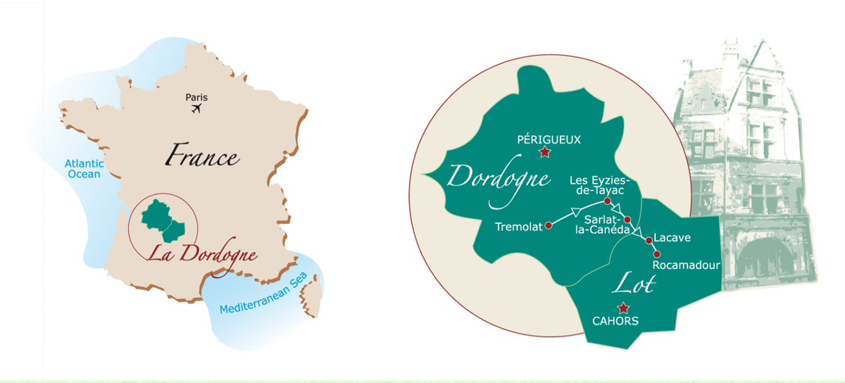 Cycling in Dordogne map