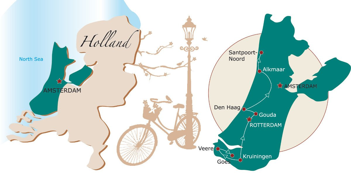 Bike touring in Holland map