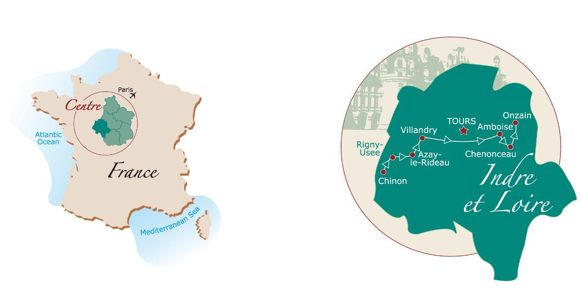 Loire Valley biking trail map